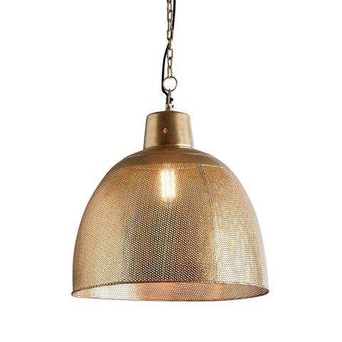 Riva Medium - Antique Brass - Perforated Iron Dome Pendant Light