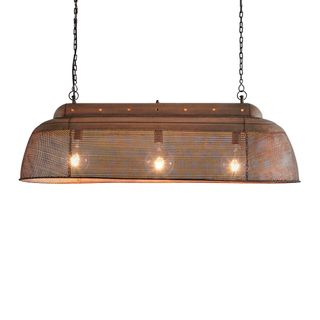 Riva Long - Antique Copper - Perforated Iron Elongated Pendant Light