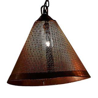 Nico - Rust - Perforated Iron Cone Pendant Light