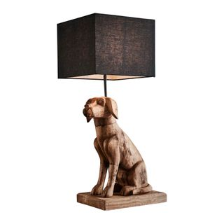 Thelma Base Only - Dark Natural - Large Wooden Dog Table Lamp Base Only