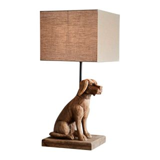 Louise Base Only - Dark Natural - Small Wooden Dog Table Lamp Base Only