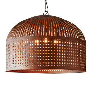 Esch Extra Large - Rust - Woven Iron Strips Pendant Light
