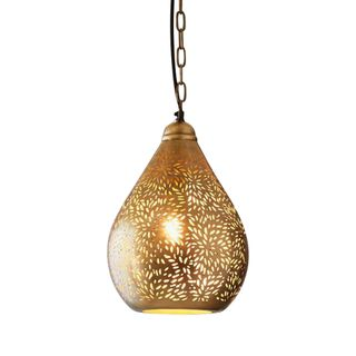 Aquarius Small - Brass - Perforated Teardrop Pendant Light