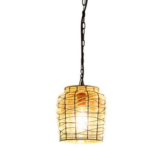 Vermont Large - Rust/Glass - Drum Wire Frame And Hand Blown Glass Pendant Light