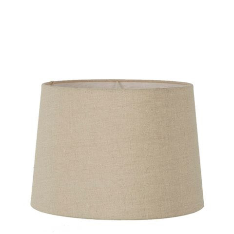 Large Drum Lamp Shade (16x14x10 H) - Dark Natural Linen - Linen Lamp Shade with E27 Fixture