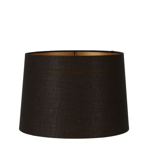 Large Drum Lamp Shade (16x14x10 H) - Black with Gold Lining - Linen Lamp Shade with E27 Fixture