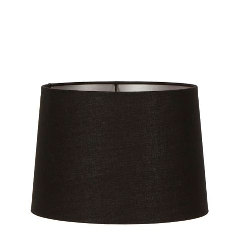 Large Drum Lamp Shade (16x14x10 H) - Black with Silver Lining - Linen Lamp Shade with E27 Fixture