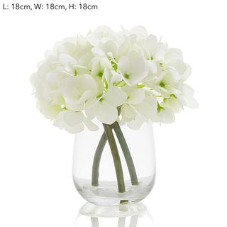 Hydrangea in Glass Vase White