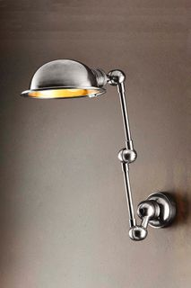 Lincoln Wall Light with Metal Shade Silver