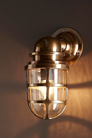 Porto Outdoor Wall Lantern Antique Brass