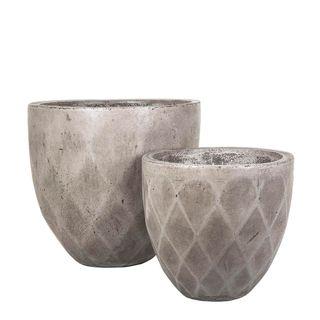 Verge Low Facet Pot set/2 Grey