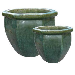 Lourdes Planter Set/2 Emerald