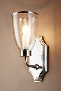 Westbrook Sconce Silver W/Glass Shade