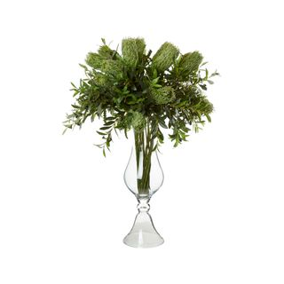 Banksia & Olive in Tall Glass Vase