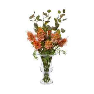 Protea Wild Stem in Vase w/Leaf 63cm Orange