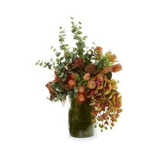 Orange Protea & Banksias in Large Glass Vase