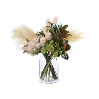 Pampas and Magnolia Leaves in Glass Vase