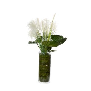 Wheat & Leaves in Glass Medium Cylinder Vase