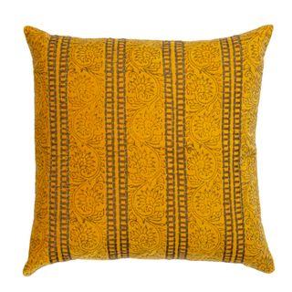 Raj Velvet Cushion Yellow