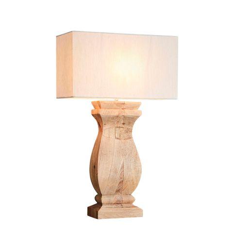 George - Natural - Rectangular Wood Ballister Table Lamp