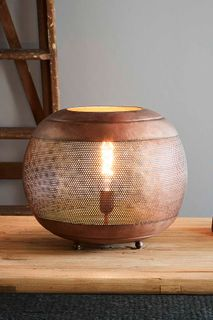 Riva Table - Antique Copper - Perforated Iron Ball Table Lamp