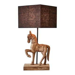 Clyde Base Only - Dark Natural - Large Wooden Horse Table Lamp Base Only