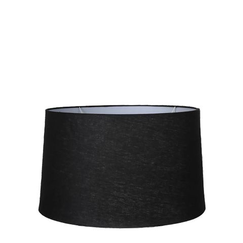 Medium Drum Lamp Shade (14x12x9.5 H) - Black - Linen Lamp Shade with E27 Fixture