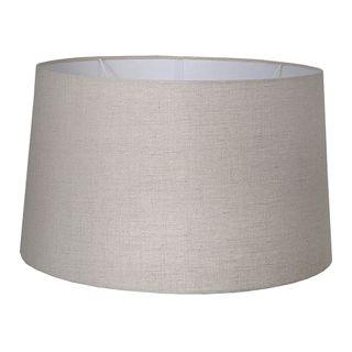 XL Drum Lamp Shade (18x16x10.5 H) - Dark Natural Linen - Linen Lamp Shade with E27 Fixture