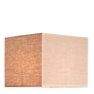 XL Square Lamp Shade (18x18x12 H) - Dark Natural Linen - Linen Lamp Shade with E27 Fixture