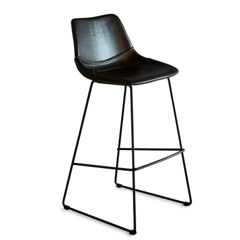 Don Bar Stool - Brown/Black - Buffalo Leather Upholstered Bar Stool