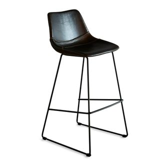 Don Bar Stool Brown and Black Buffalo Leather