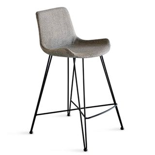 Brooklyn Kitchen Counter Stool Light Grey and Black Fabric