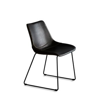 Don Chair Brown and Black Buffalo Leather