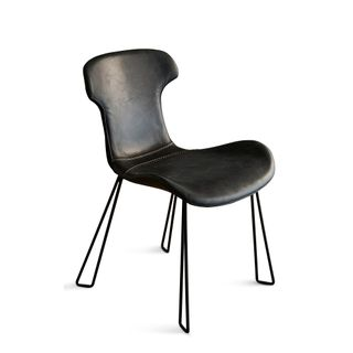 Yonkers Chair Slate Black and Black Waxed Leather