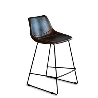 Don Kitchen Counter Stool Brown and Black Buffalo Leather
