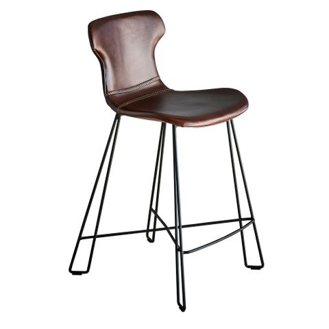 Yonkers Kitchen Counter Stool Tan and Black Waxed Leather