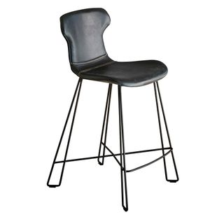 Yonkers Kitchen Counter Stool Slate Black on Black Waxed Leather