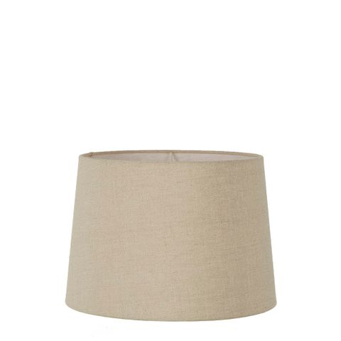 Small Drum Lamp Shade (12x10.5x8 H) - Dark Natural Linen - Linen Lamp Shade with E27 Fixture