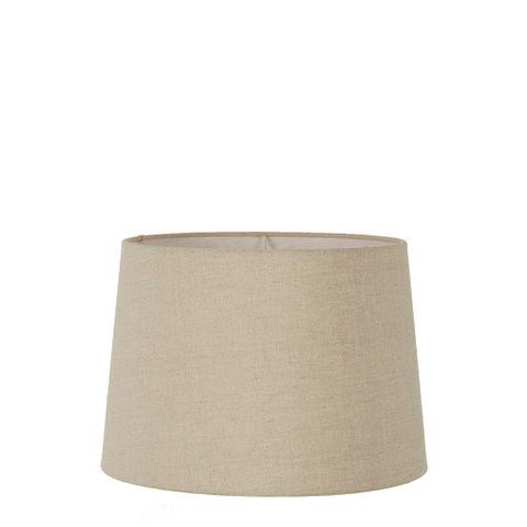Small Drum Lamp Shade (12x10.5x8 H) - Dark Natural Linen - Linen Lamp Shade with E27 Fixture