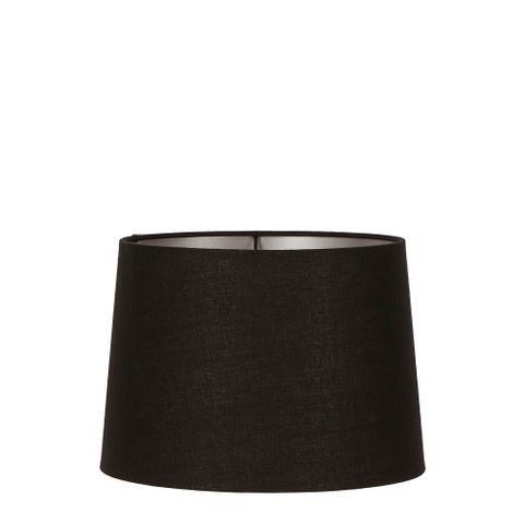 Small Drum Lamp Shade (12x10.5x8 H) - Black with Silver Lining - Linen Lamp Shade with E27 Fixture