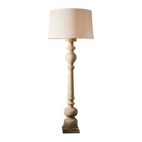 Rook Large - Natural - Turned Wood Pillar Floor Lamp