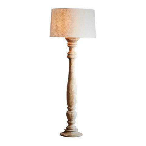 Candela Large - Natural - Turned Wood Candlestick Floor Lamp