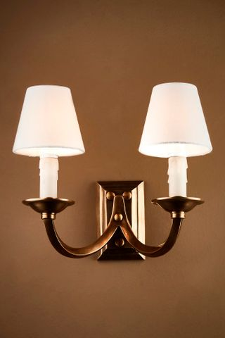 Elysee Two Ams Wall Lamp in Antique Brass