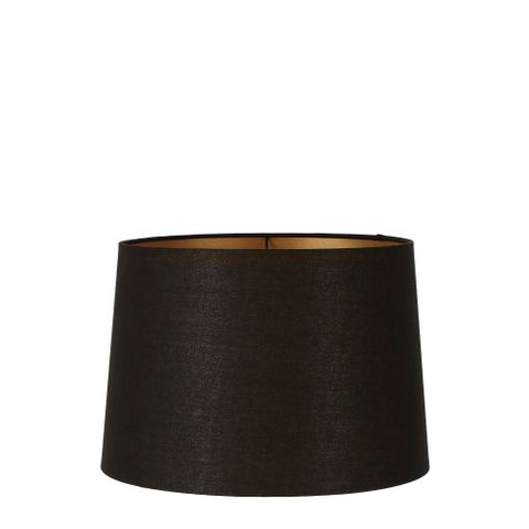 Small Drum Lamp Shade (12x10.5x8 H) - Black with Gold Lining - Linen Lamp Shade with E27 Fixture