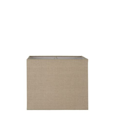 Small Square Lamp Shade (12x12x10 H) - Dark Natural Linen - Linen Lamp Shade with E27 Fixture