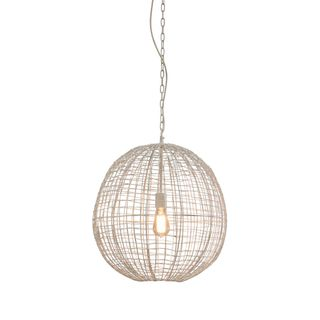 Cray Ball Medium - White - Wire Weave Ball Pendant Light