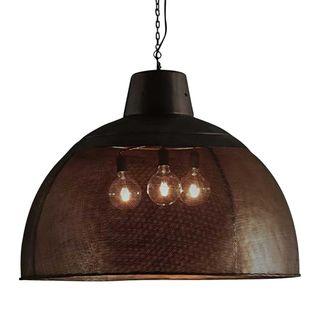 Riva Extra Large - Matt Black/Gold - Perforated Iron Dome Pendant Light