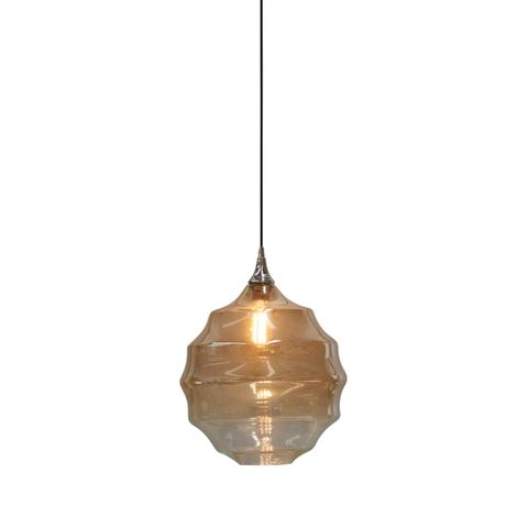 Onda - Champagne/Clear Two-tone Gradient - Large Rippled Glass Ball Pendant Light