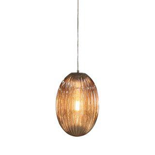 Costolette Medium - Smoke Grey - Medium Ribbed Glass Pod Pendant Light