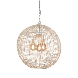 Cray Ball Large - White- Wire Weave Ball Pendant Light